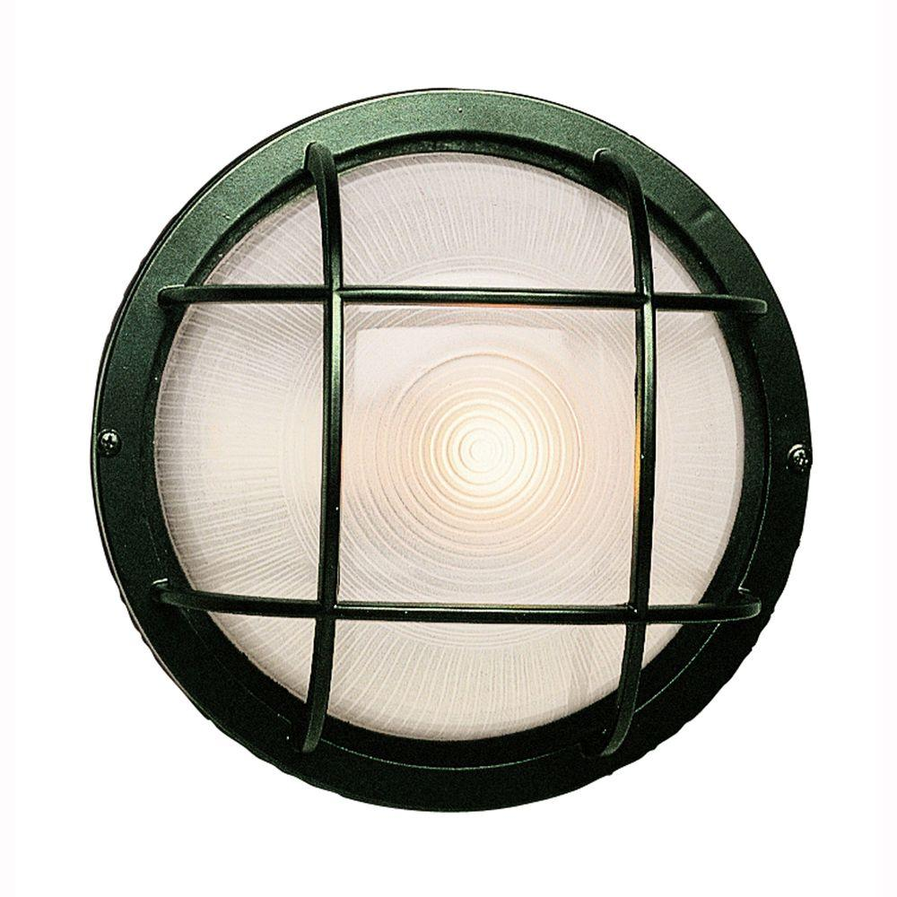 Bel Air Lighting Bulkhead 1-Light Outdoor Verde Green Wall or Ceiling Mounted Fixture with Frosted Glass