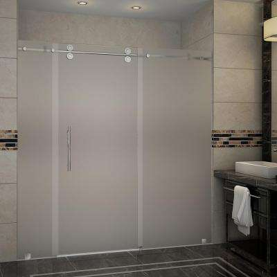 Langham 72 in. x 75 in. Completely Frameless Sliding Shower Door with Frosted Glass in Stainless Steel