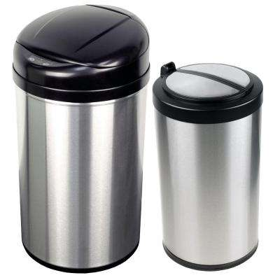 13 gal. and 3.2 gal. Stainless Steel Motion Sensing Touchless Infrared Trash Can Combo Pack