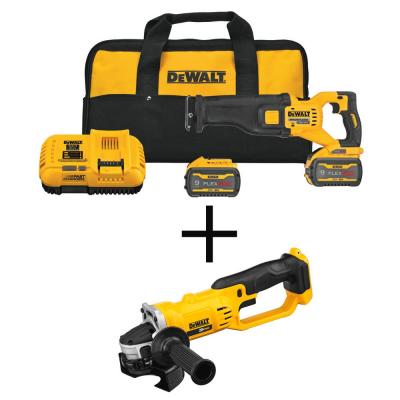 FLEXVOLT 60-Volt MAX Li-Ion Cordless Brushless Reciprocating Saw Kit with 20-Volt 4-1/2 in. to 5 in. Grinder (Tool Only)