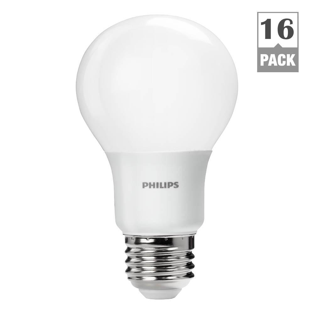 Philips 60-Watt Equivalent A19 LED Light Bulb Daylight (16-Pack ... for Philips Led Lights Price  59nar