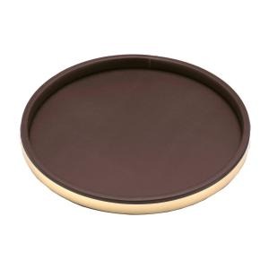 Kraftware Sophisticates 14 inch Round Serving Tray in Brown and Polished Brass by Kraftware