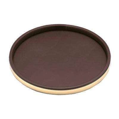 Sophisticates 14 in. Round Serving Tray in Brown and Polished Brass