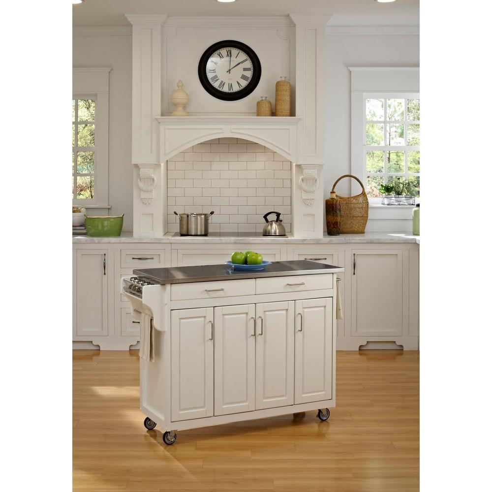Home Styles Create A Cart White Kitchen Cart With Stainless Top
