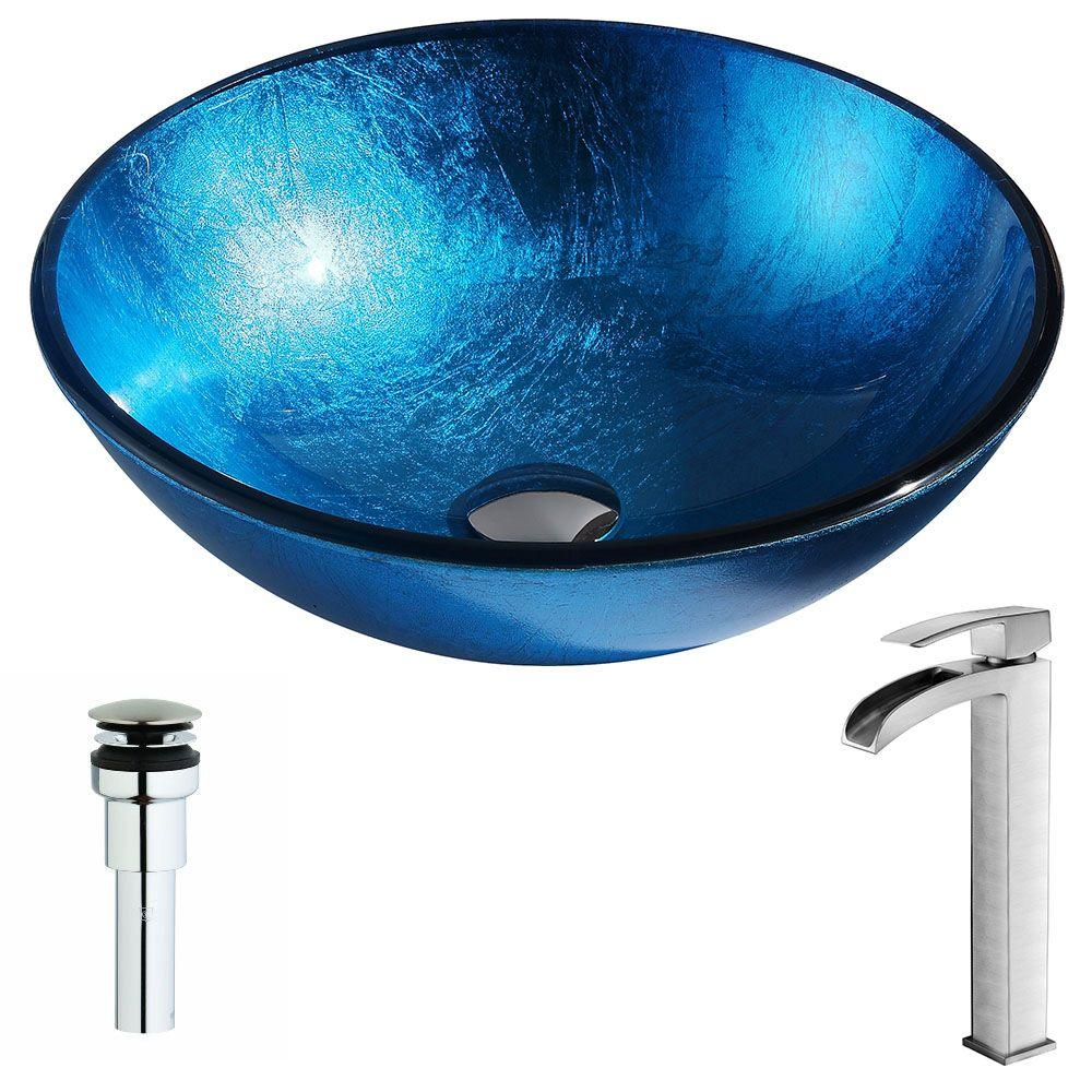 ANZZI Arc Series Deco-Glass Vessel Sink in Lustrous Light Blue with Key Faucet in Brushed Nickel was $295.99 now $236.79 (20.0% off)