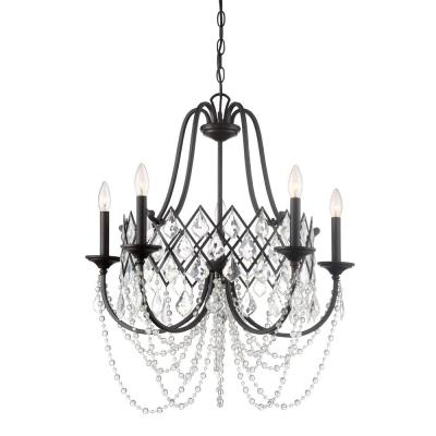 Ravina 5-Light Vintage Bronze Chandelier with Faceted Crystal Accents Shade