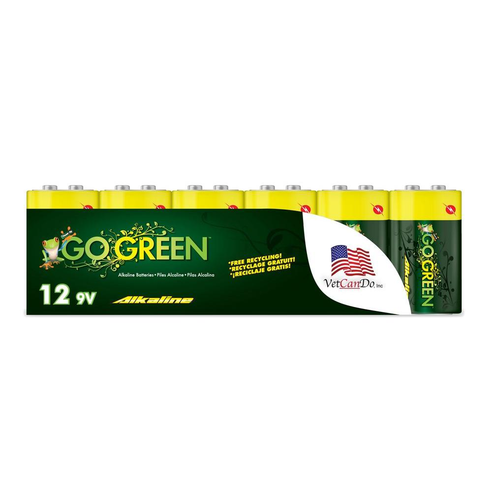 By Go Green 9 Volt Alkaline Battery 12 Pack