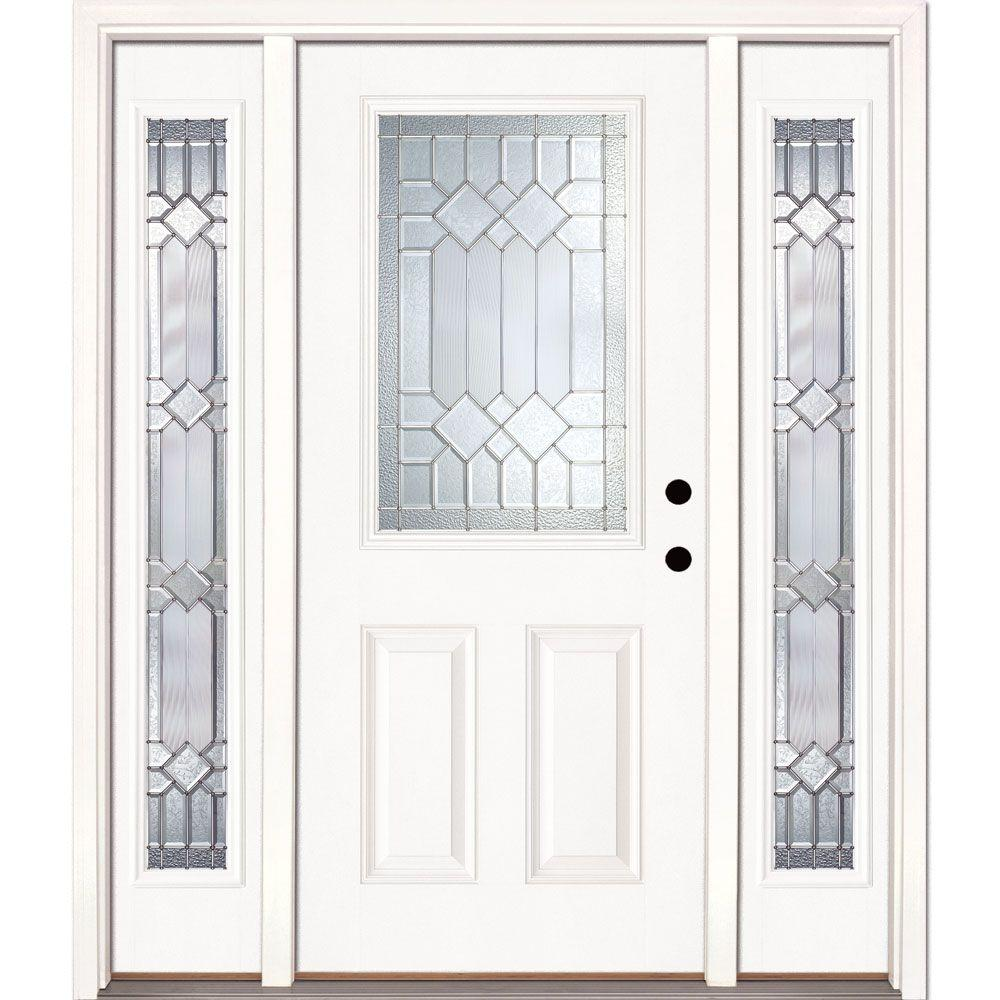 Feather River Doors 63.5 in.x81.625 in. Mission Pointe Zinc 1/2 Lite Unfinished Smooth Left-Hand Fiberglass Prehung Front Door w/ Sidelites