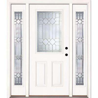 63.5 in.x81.625 in. Mission Pointe Zinc 1/2 Lite Unfinished Smooth Left-Hand Fiberglass Prehung Front Door w/ Sidelites