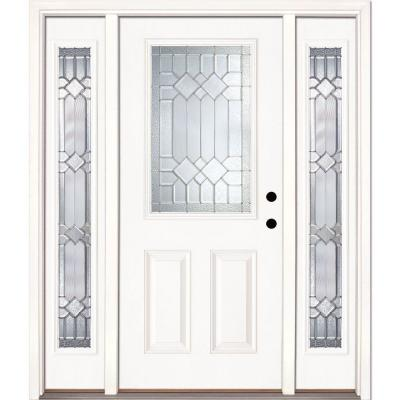 67.5 in.x81.625 in. Mission Pointe Zinc 1/2 Lite Unfinished Smooth Left-Hand Fiberglass Prehung Front Door w/ Sidelites