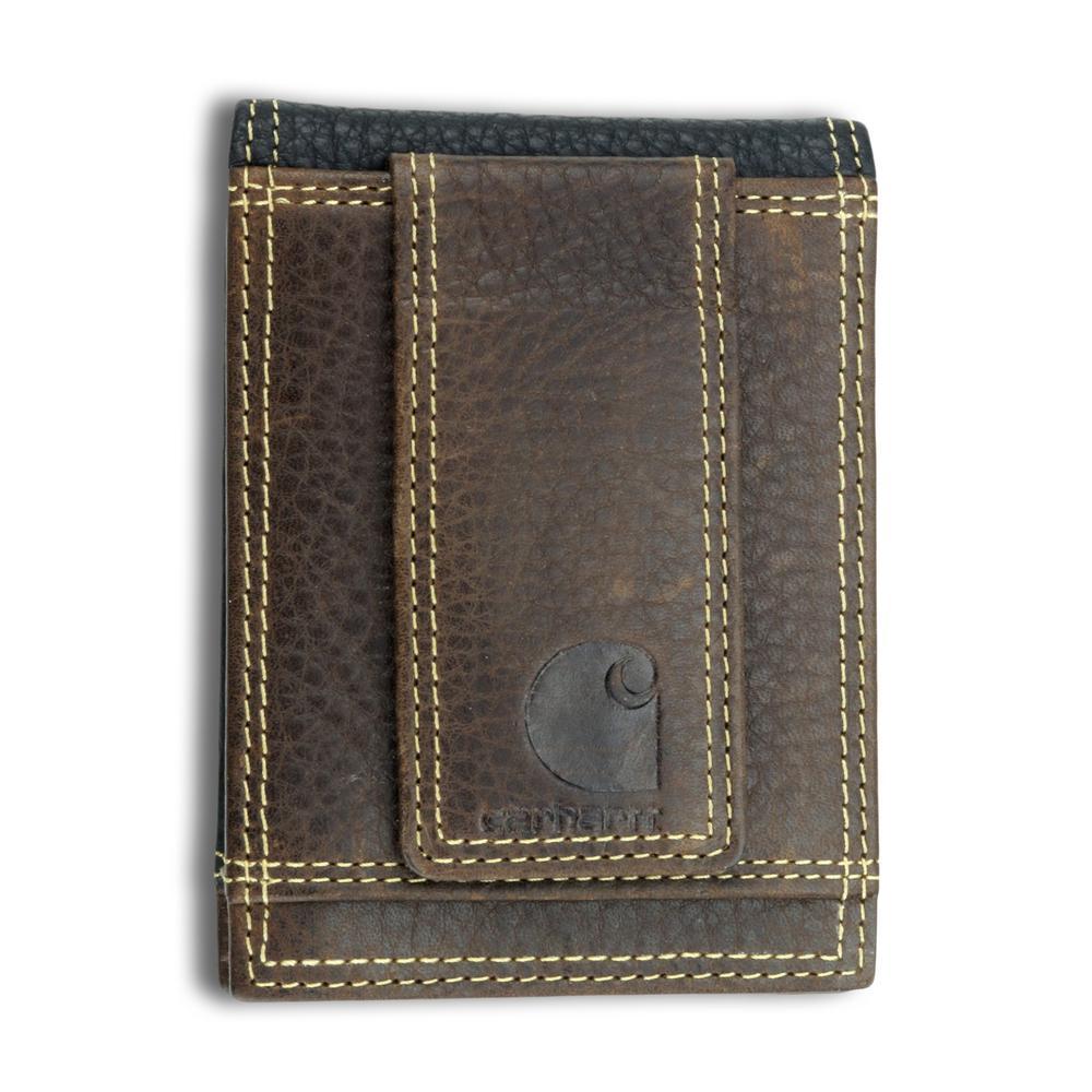 d91b967cbb Carhartt Mens Leather Black/Brown Rugged Front Pocket Wallet-61 ...