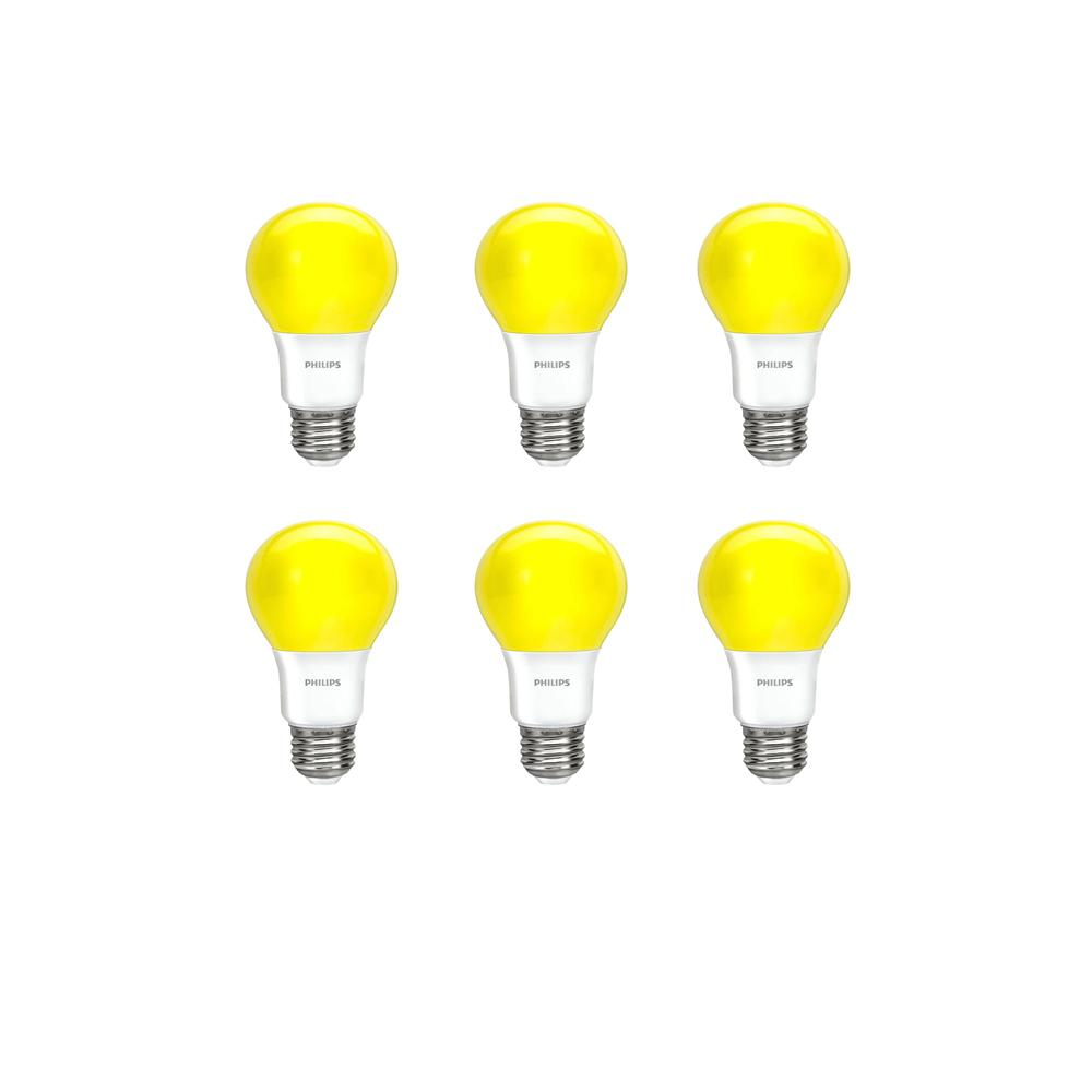 Philips 60-Watt Equivalent A19 Non-Dimmable Yellow LED Bug Light Bulb (6-Pack)