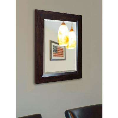 35.75 in. x 35.75 in. Dark Walnut Rounded Beveled Wall Mirror
