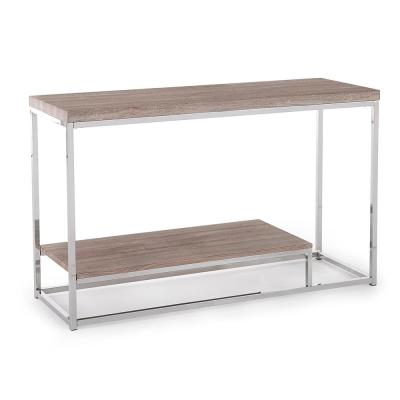 Lucia Light Brown Sofa Table with Chrome Base