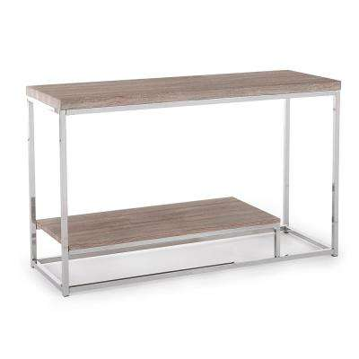 Lucia Brown Sofa Table with Chrome Base