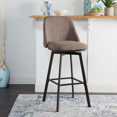 Briar 24 in. - 29 in. Adjustable Gunmetal Curved Back Barstool