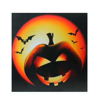 19.75 in. x 19.75 in. LED Lighted Bats and Jack-O-Lantern Halloween Canvas Wall Art