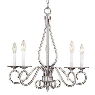5-Light Pewter Chandelier with White Candle Covers