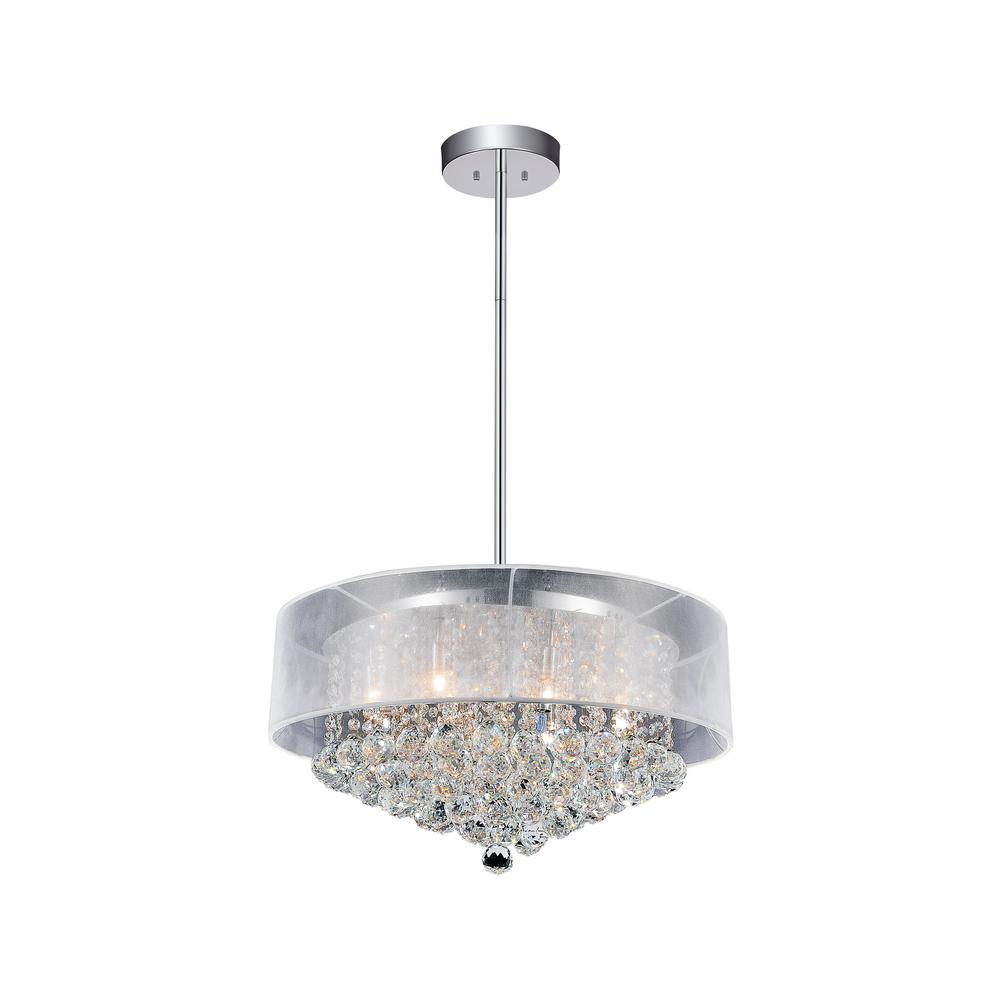 Radiant 12-Light Chrome Chandelier with White shade