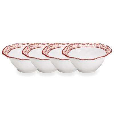 Talavera 4-Piece Red Melamine Cereal Bowl Set