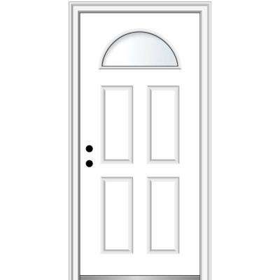 32 in. x 80 in. Classic Right-Hand Inswing 1/4-Lite Clear 4-Panel Primed Steel Prehung Front Door on 4-9/16 in. Frame