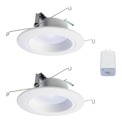 5/6in Tunable CCT Smart Integrated LED Recessed Retrofit Trim (2-Pack) and Bluetooth Internet Access Bridge by HALO Home