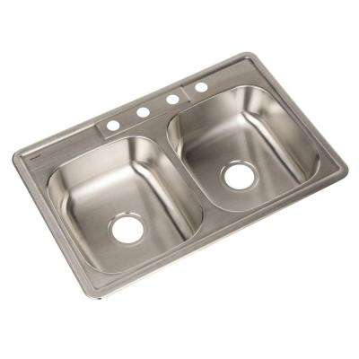 Glowtone Series Drop-In Stainless Steel 33 in. 4-Hole Double Bowl Kitchen Sink
