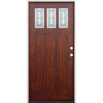 36 in. x 80 in. Pecan Left-Hand Inswing 3-Lite Triple Pane Decorative Glass Stained Mahogany Prehung Front Door