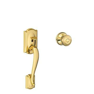 Camelot Bright Brass Entry Door Handle with Georgian Knob