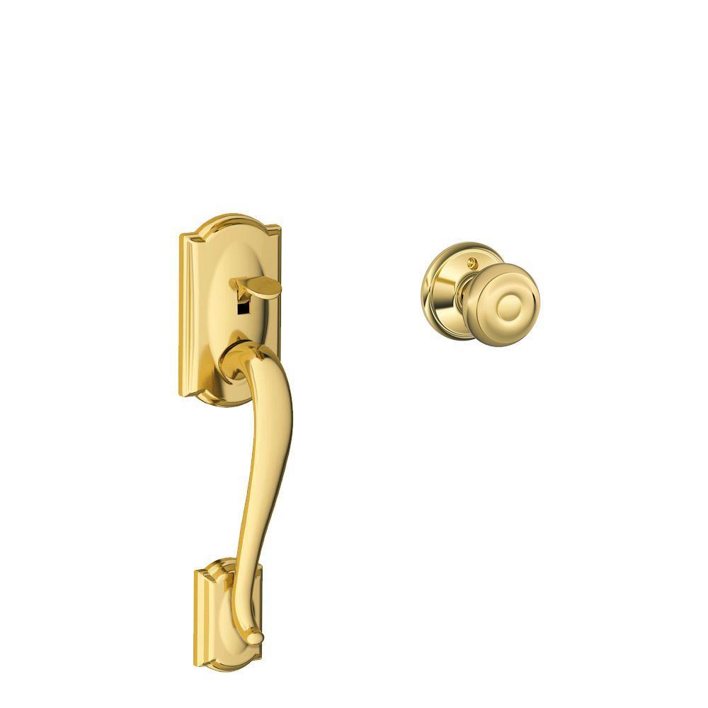 Camelot Bright Brass Entry Door Handle with Georgian Door Knob
