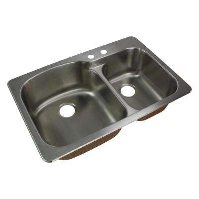 Classic Drop-In Stainless Steel 33 in. 2-Hole 75/25 Double Bowl Kitchen Sink in Brushed Stainless Steel