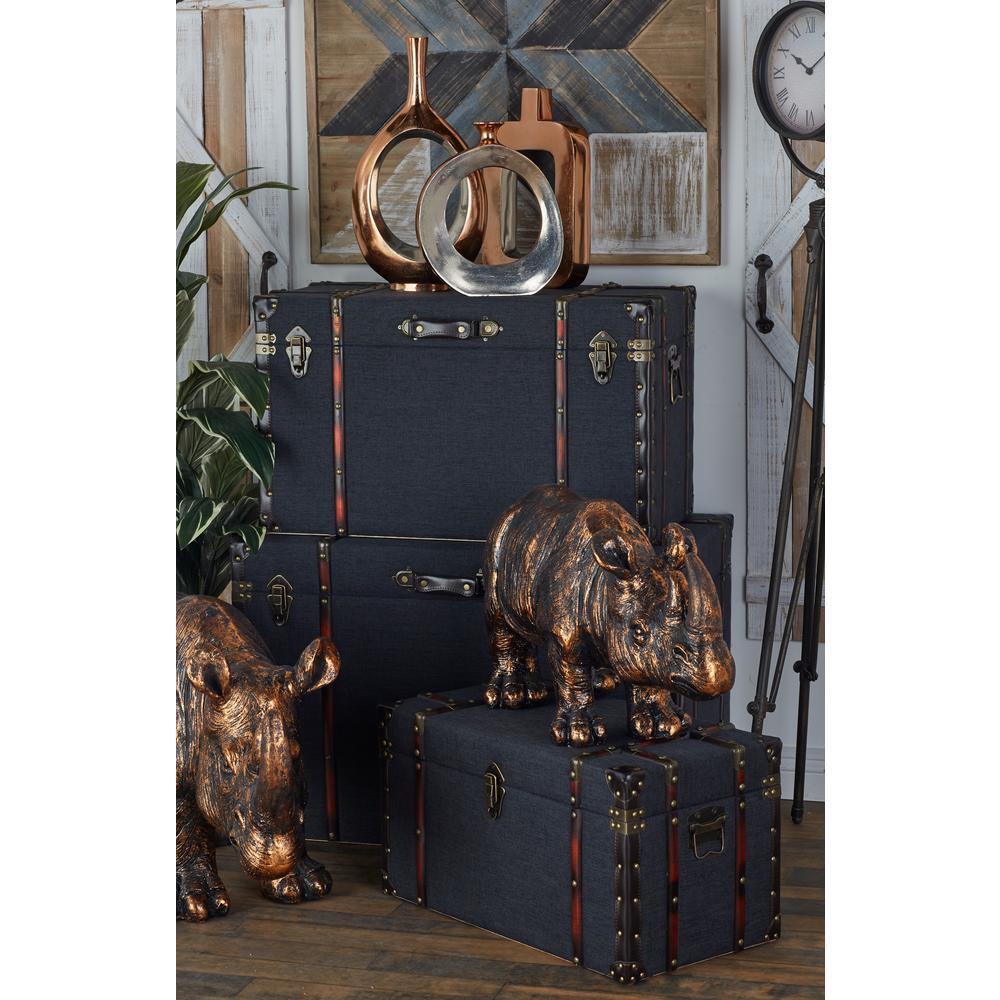 Rectangular Wood and Leather Luggage-Style Trunks (Set of 3)
