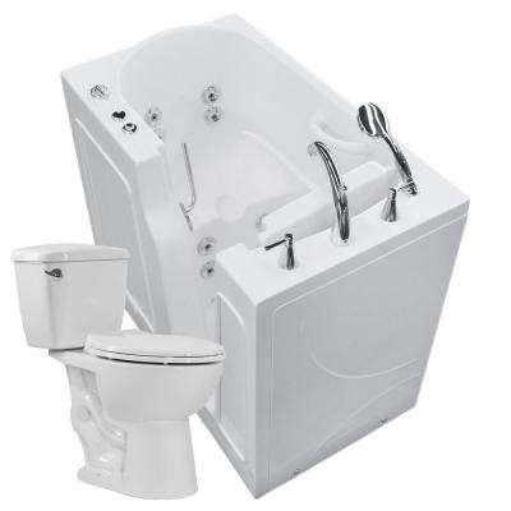 Nova Heated 45.75 in. Walk-In Whirlpool Bathtub in White with 1.28 GPF Single Flush Toilet