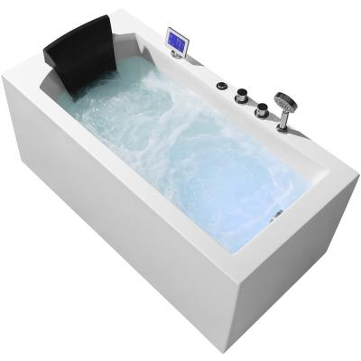 59 in. Acrylic Right Drain Rectangular Alcove Whirlpool Bathtub in White