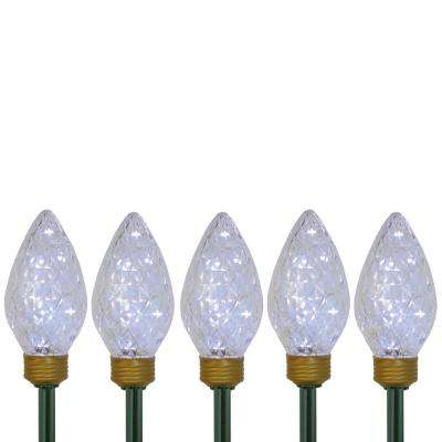 Set of 5 Lighted LED Jumbo C9 Bulb Christmas Pathway Marker Lawn Stakes - Clear Lights