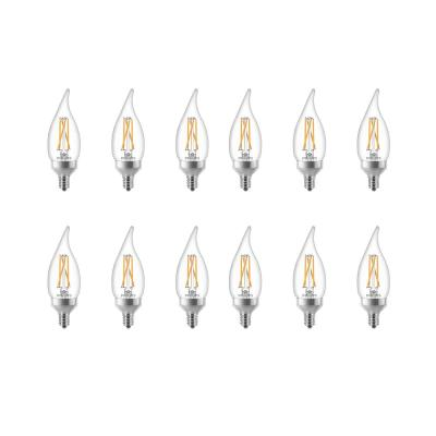 40-Watt Equivalent B11 Dimmable with Warm Glow Dimming Effect LED Bent Tip Candle Light Bulb Soft White (12-Pack)