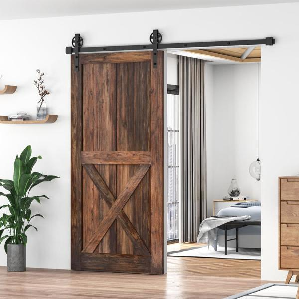 Winsoon 5 Ft 60 In Frosted Black Sliding Barn Door Track And Hardware Kit For Single With Non Routed Floor Guide Gcm2713 1 The Home Depot