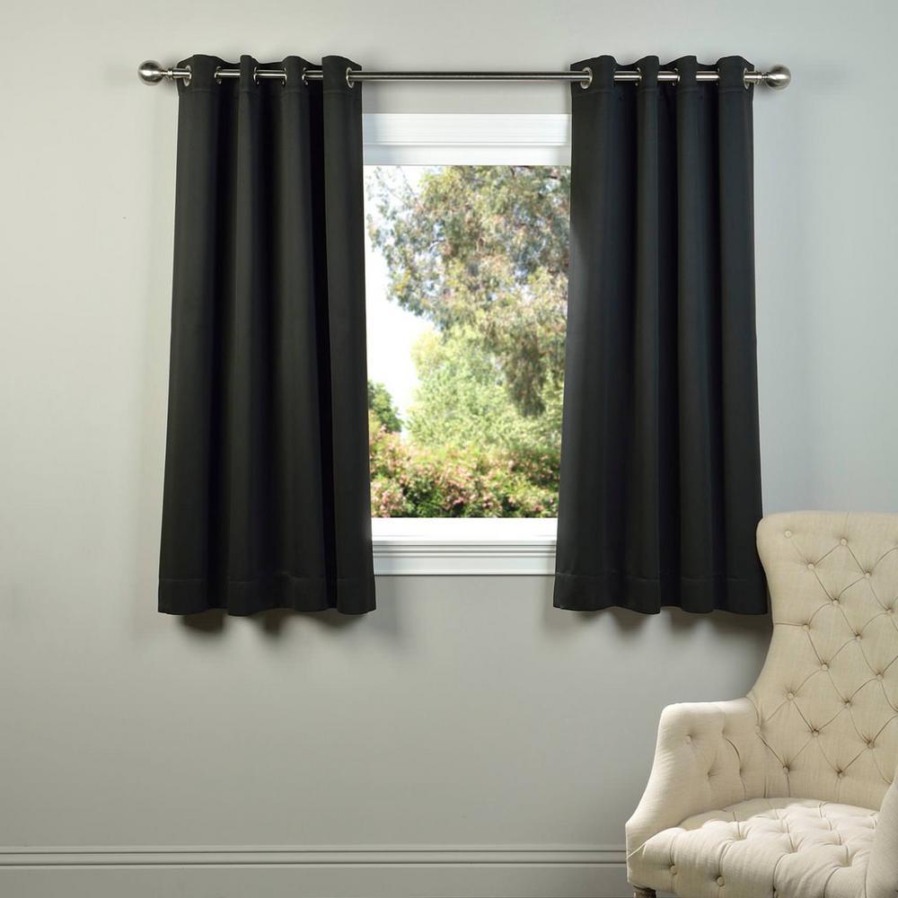 Semi-Opaque Jet Black Grommet Blackout Curtain - 50 in. W x 63 in. L (Panel)
