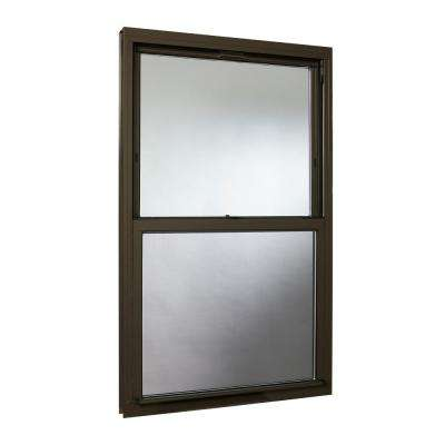 35.5 in. x 59.25 in. Double Hung Aluminum Window with Low-E Glass and Screen, Brown