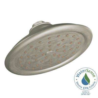 ExactTemp 1-Spray 7 in. Eco-Performance Rainshower Showerhead Featuring Immersion in Brushed Nickel