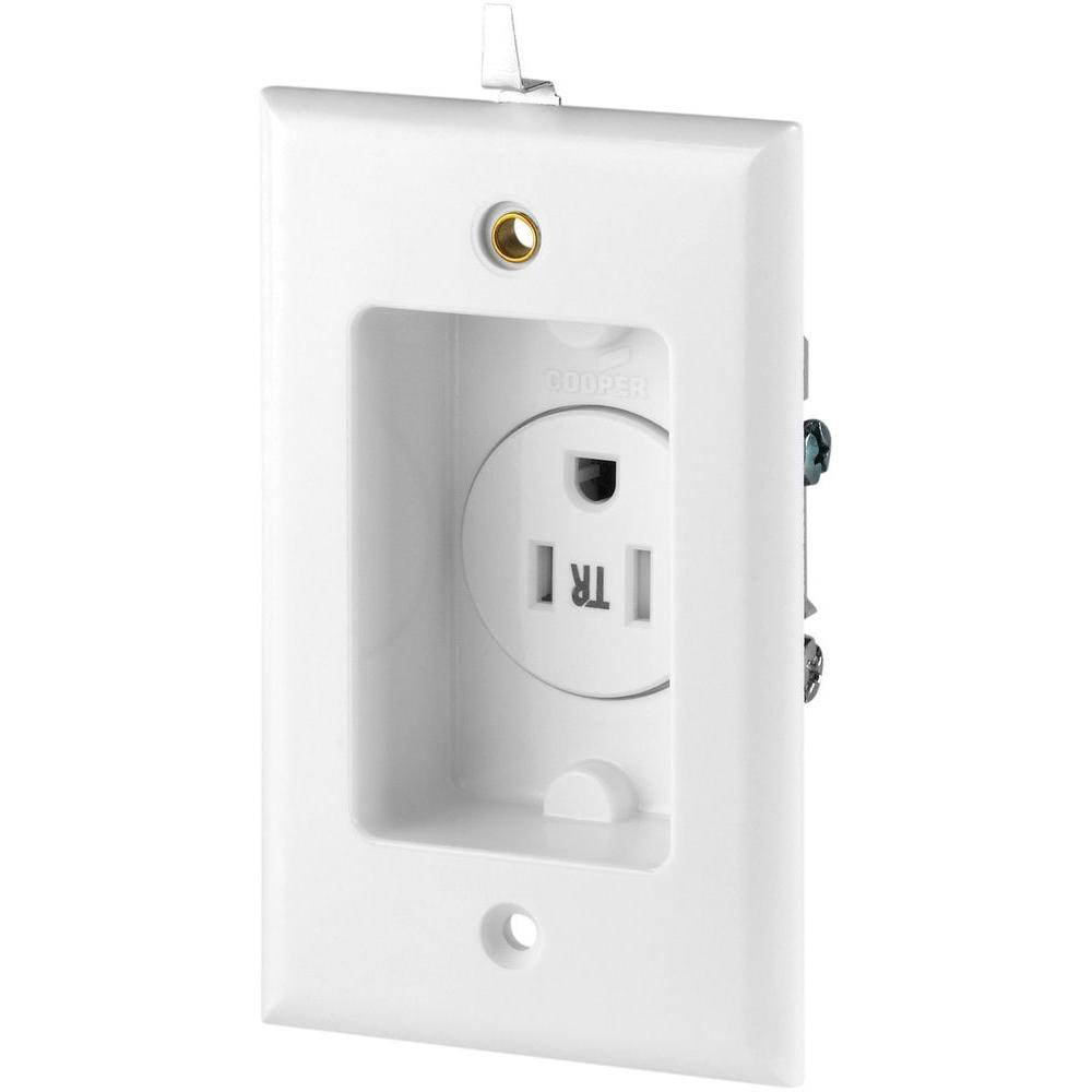 15 Amp 125-Volt 5-15R Single Recessed Receptacle with Clock Hanger, White