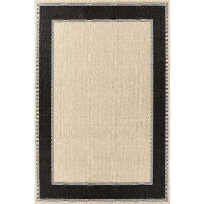 Border Tan Black 7 ft. x 11 ft. Indoor/Outdoor Area Rug