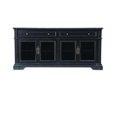 Bufford Rubbed Black Storage Entertainment Center