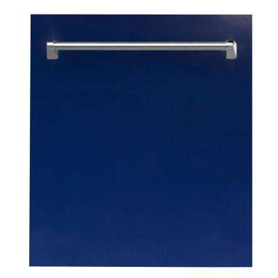 24 in. Top Control Dishwasher in Blue Gloss with Stainless Steel Tub and Traditional Style Handle