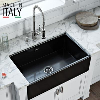 Farmhouse/Apron-Front Fireclay 30 in. Reversible Single Bowl Kitchen Sink in Glossy Black