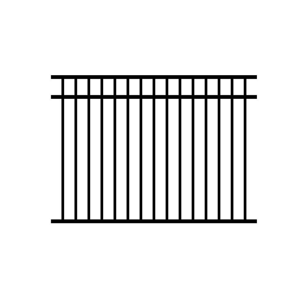 Jefferson 4.5 ft. x 6 ft. Black Aluminum Fence Panel (3-Pack)