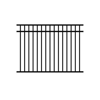 Jefferson 4.5 ft. x 6 ft. Black Aluminum Fence Panel (3-Pack)