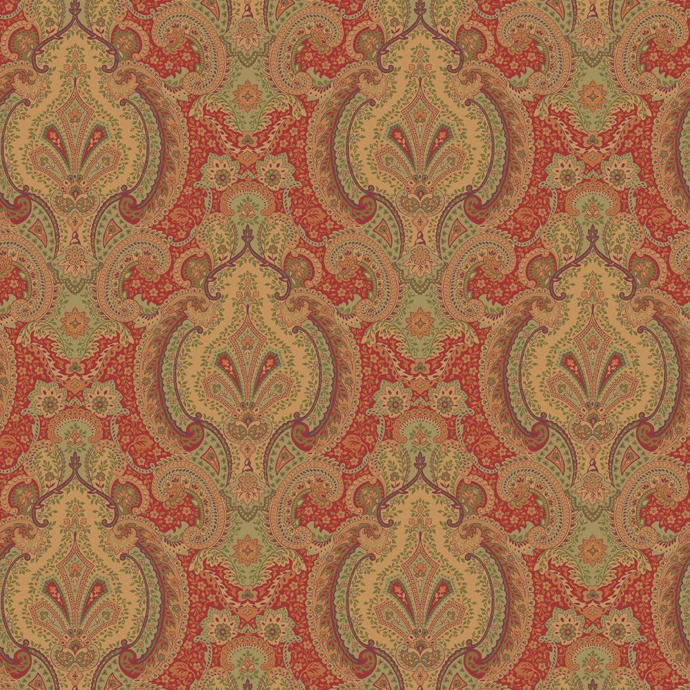 The Wallpaper Company 56 sq. ft. Carnelian Europa Wallpaper-DISCONTINUED