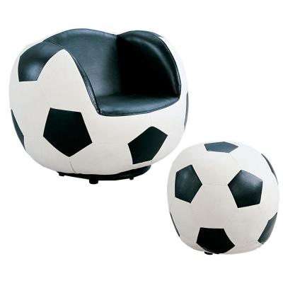 Soccer 2 Piece White and Black Pack Chair and Ottoman
