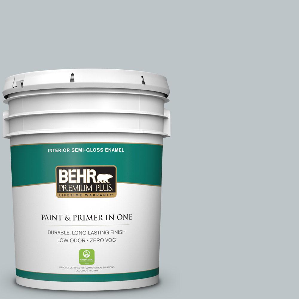 5 gal. #PPU12-10 Misty Morn Zero VOC Semi-Gloss Enamel Interior Paint